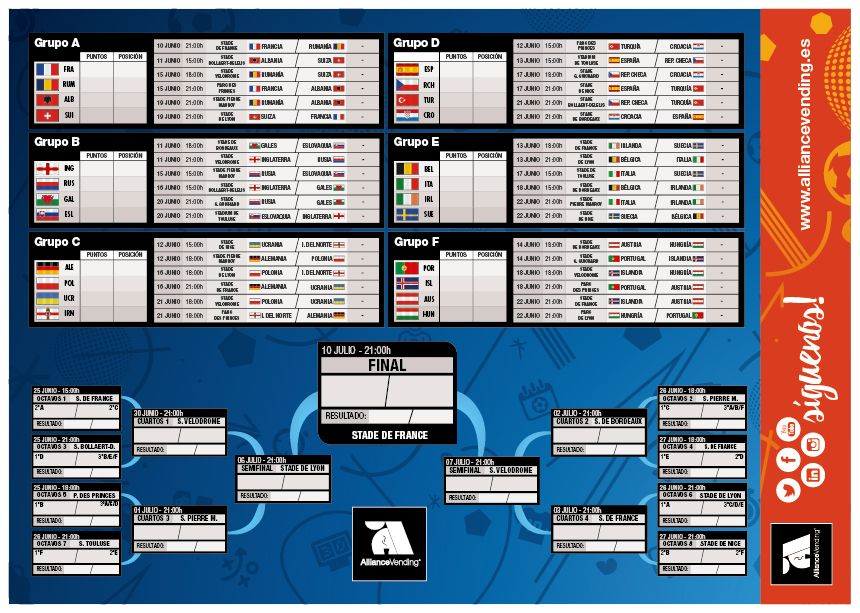 calendario pdf gratis para imprimir de la Eurocopa 2016 cortesía Alliance Vending