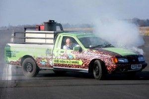 Aquí tenemos al vehículo en plena combustión, ¿o deberíamos decir erogación?