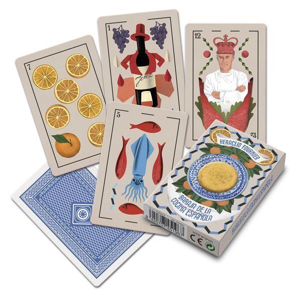 gasronomía españolas en una baraja de cartas